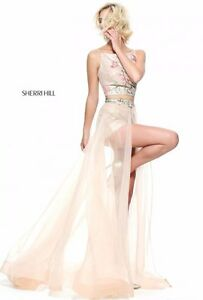AUTHENTIC SHERRI HILL 2PC NUDE SZ 6 GOWN FORMAL PROM PAGEANT DRESS #51187 NWT