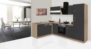 Set Kitchen Winkelküche L-SHAPE Kitchen oak Sonoma Grey 280x172 CM respekta