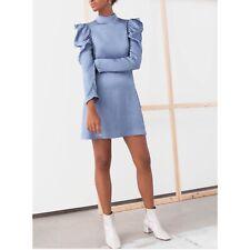 & Other Stories Light Blue Woman Size 6 jacquard puff shoulder Mini Dress