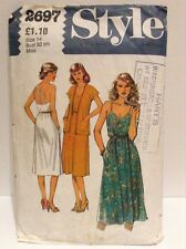 VINTAGE SEWING PATTERN STYLE 2697 WOMEN'S SUMMER DRESS & JACKET 1970's SIZE 14