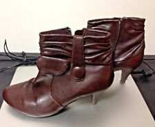 Ladies Women M&Co Brown Ankle Leather Zip Boots Size UK 6 EU 39