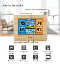 Indoor Outdoor Digital LCD Wireless Weather Station Calendar Thermometer Wood