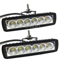 2X 6INCH 18w LED WORK LIGHT BAR FLOOD BEAM OFFROAD DRIVING LAMP FOG ATV SUV 4WD