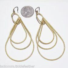 Sparkly Golden Teardrop Dangles-Versatile Pierced Earrings, 3 Large Graduated