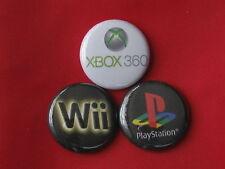 "X BOX 360 - PLAY STATION - WII  SET OF THREE NEW 2.25"" PIN BACKS BADGE"