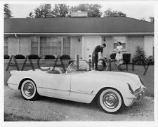 1953 Corvette Convertible Coupe by house with dog, Factory Photo (Ref. #35714)