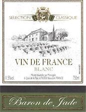 Etiquette de vin - Wine Label - Vin de France blanc - Baron de Jade