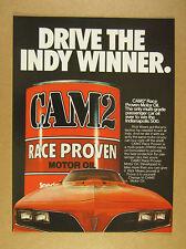 1980 Cam2 motor oil Pontiac Firebird Trans-Am car photo vintage print Ad