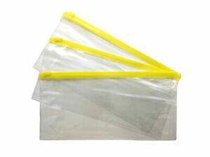 12 x DL Yellow Zip Zippy Bags -Document Clear Plastic Transparent Storage Wallet