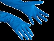 VILEDA Professional Rubber Gloves Blue Flock Lined Household Cleaning Medium