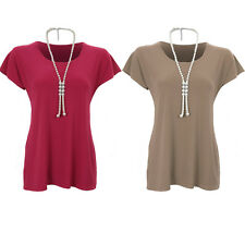 Women's Stretchy Plain Short Sleeve Diamante Pearl Necklace Tunic T-shirt Top