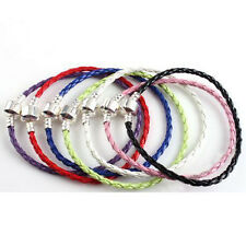 BRAIDED FAUX LEATHER CHARM BRACELETS FOR CHARM STYLE BEADS