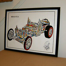 The Munsters Dragula Dragster Tom Daniel Car Racing Poster Print Wall Art 18x24