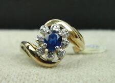 Solid 10K Yellow Gold with Dark Blue and Clear Gems Diamond? Saphire? SIZE 6