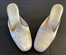 Vintage French JEWELED High Heel Mule (backless) Silk Shoes made FRANCE  1930's