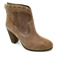 Vince Camuto Womens Fretzia Ankle Boots Brown Leather Block Heels Zipper 11M New