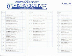 Nick Buoniconti Miami Dolphins HOF Signed Golf Pairings Sheet ~ July 30,1987 JSA