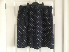 Tom Tailor Skirt 12 navy dotted dotty white belted elastic waist 100% Cotton