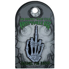 Kreepsville 666 Skeleton Middle Finger Glow in the Dark Enamel Pin NEW Goth Punk