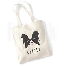 Personalised 'Papillon Dog' Canvas Tote Bag- GIFT FOR PET DOG OWNER