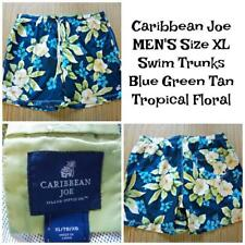 CARIBBEAN JOE Men's Size XL SWIM TRUNKS Mesh Lined Blue Green Tan FLORAL