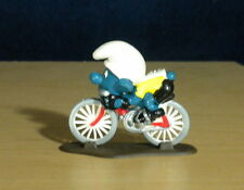 Smurfs Cyclist Bicycle Super Smurf Riding Bike Figure Vintage Toy Figurine 40501