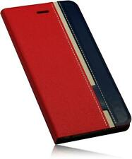 "Apple iPhone 6 Plus 5,5"" Handytasche PU Leder Tasche (Booklet-2 Rot-Blau) Case"