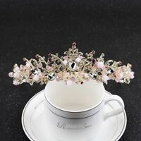 Elegant Baroque Flower Crystal Crown Tiaras Bridal Headband Wedding Hair Jewelry
