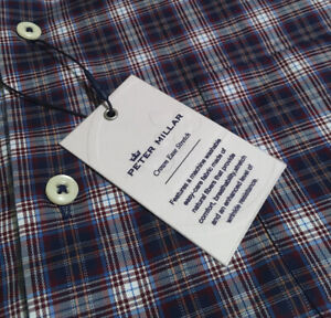Peter Millar Crown Ease Stretch Men's Size XL Night Sky Plaid Long Sleeve Shirt