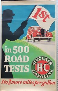 SINCLAIR HC GASOLINE 1ST IN 500 ROAD TESTS POSTER 28X44 circa 1938