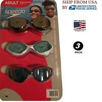 Speedo Swim Goggles Adult Men (Ryan Lochte) UV/P, A/F, L/F - 3 pack