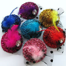 7pcs Mix Lots Pet Dog Hair Bows Dress Hat With Feather Rhinestone Grooming