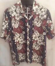 Vintage Evergreen Island Hula Girl Blue Hawaiian Shirt Mens Medium Excellent