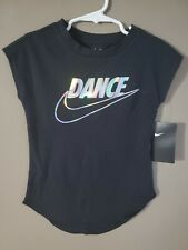 Girls Nike Tee Athletic Cut Shirt Size XS 4 Black Holographic Dance Swoosh NEW