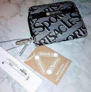 Lesportsac Taylor Small Logo Wallet Gray/ Black/ White NEW W/tags Rt$49