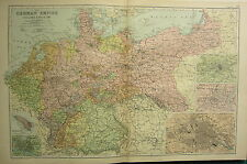 1894 ANTIQUE MAP ~ GERMAN EMPIRE WITH HOLLAND & BELGIUM BERLIN METZ HAMBURG