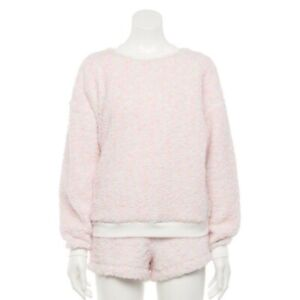 New SO Women's Sherpa Sweatshirt & Shorts Pajamas XS XXL