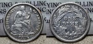 1876 CC Seated Liberty Dime 10c Great Details Cleaned