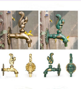 Outdoor Animal Brass Vintage Style Squirrel Garden Wall Mounted Water Tap Faucet