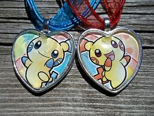 Pokemon Trading Card Plusle Minun Pendant Glass Charm Friendship Lot Necklace H