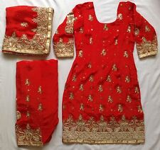 New Bridal Ladies Fashion Red Salwar Kameez With Heavy Dupatta Women's Wear Indi
