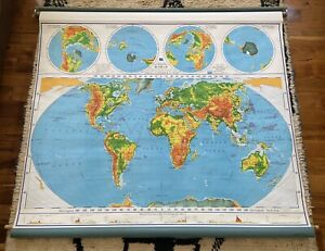 Vintage AJ Nystrom Pull Down World Map - Pictorial Relief No. PR 98 - 1964