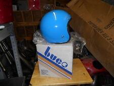 NOS Vintage Cafe Buco Solid Blue Fiberglass Medium Motorcycle Helmet 1757-2
