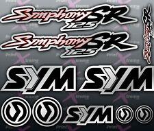 Sym Symphony SR 125 SILVER RED BLACK Stickers / Decals autocollant aufkleber