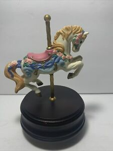 "1992 The San Francisco Music Box Company 6 3/8"" Carousel Horse Plays & Rotates!"