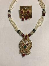 STUNNING Red PEARL STONES EARRINGS NECKLACE INDIAN SET SAREE BOLLYWOOD JEWELLERY