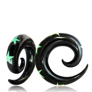 PAIR HORN SPIRALS PLUGS TUNNEL WITH INLAY TURQUOISE STARS GAUGES GAUGE PLUG