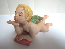 "CAPODIMONTE~Neno Angel Cherub Figurine w/Wings~Blowing Kisse~5"" Long  Excellent!"
