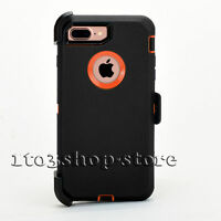 iPhone 7 Plus iPhone 8 Plus Defender Hard Case w/Holster Belt Clip Black/Orange