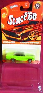 """1970 GREEN PLYMOUTH ROAD RUNNER, MUSCLE CARS """"SINCE '68"""" , 2008 HOT WHEELS"""